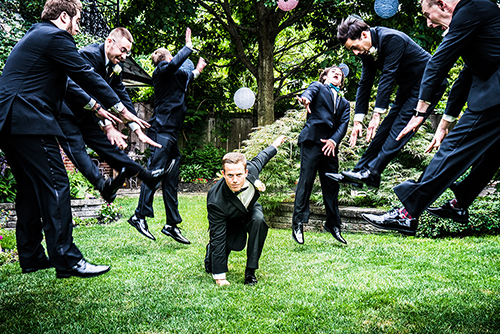 Fun photography of groomsmen reenacting dragon ball z
